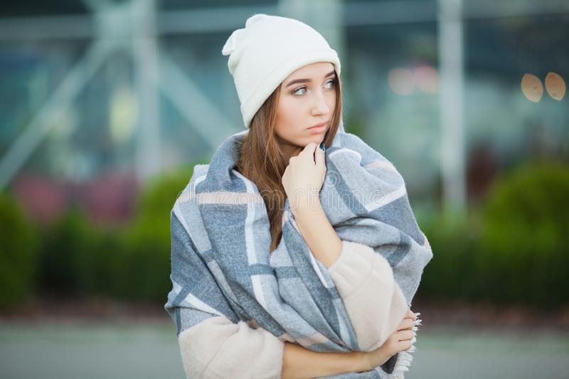 Cold and flu. Woman get sick and cough, wearing autumn clothes.  royalty free stock photos
