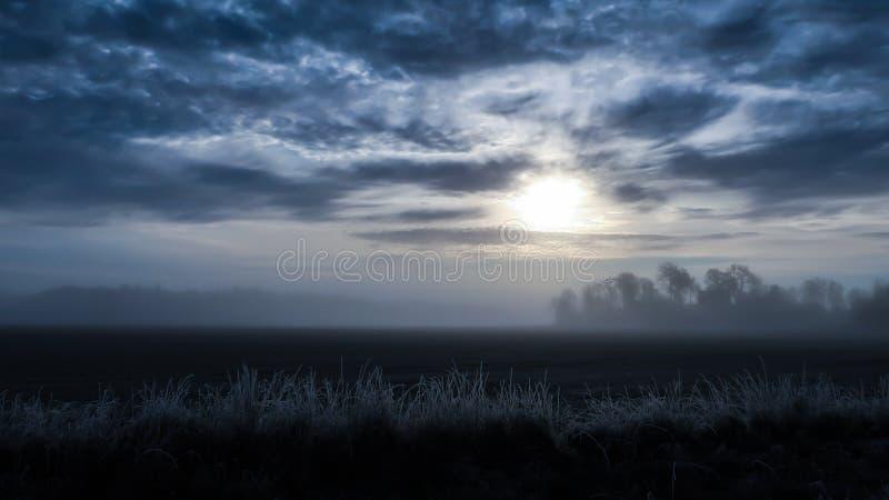 Cold foggy landscape stock photo