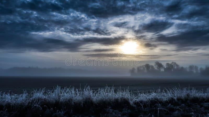 Cold foggy landscape stock images