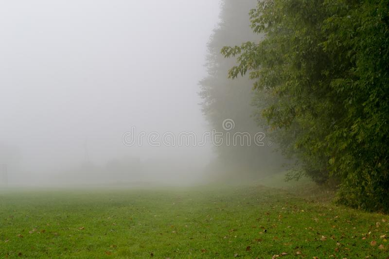 A cold foggy morning during autumn royalty free stock photos