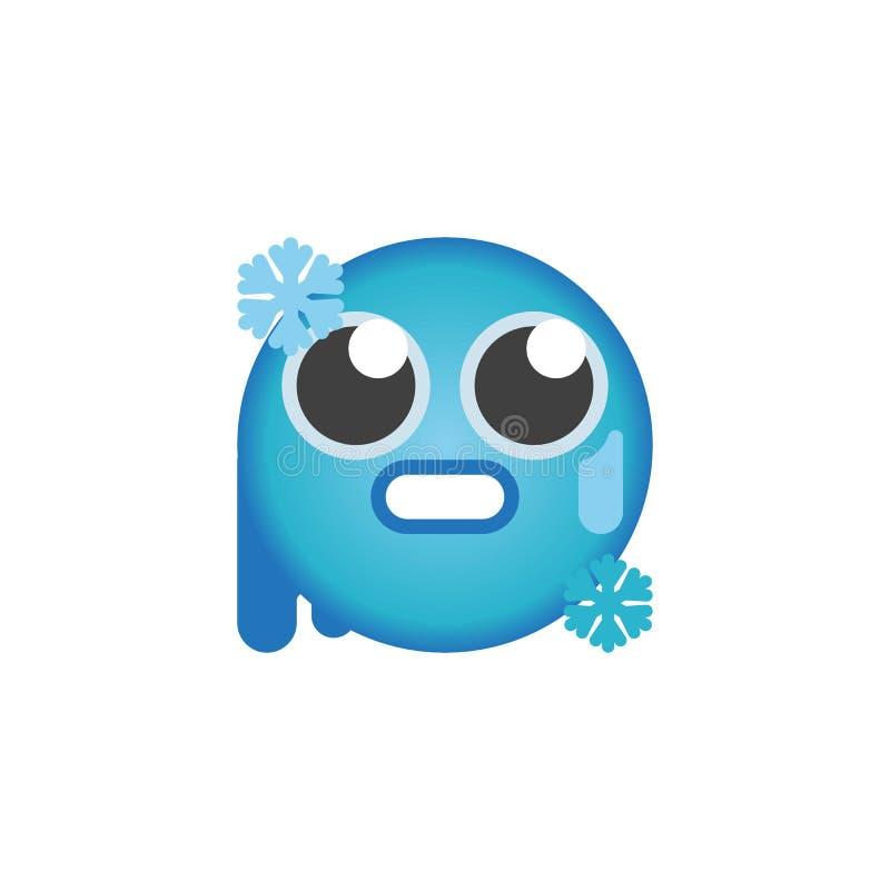 Cold freezing emoticon flat icon. Icy-blue face emoji vector sign, colorful pictogram isolated on white. Symbol, logo illustration. Flat style design stock illustration