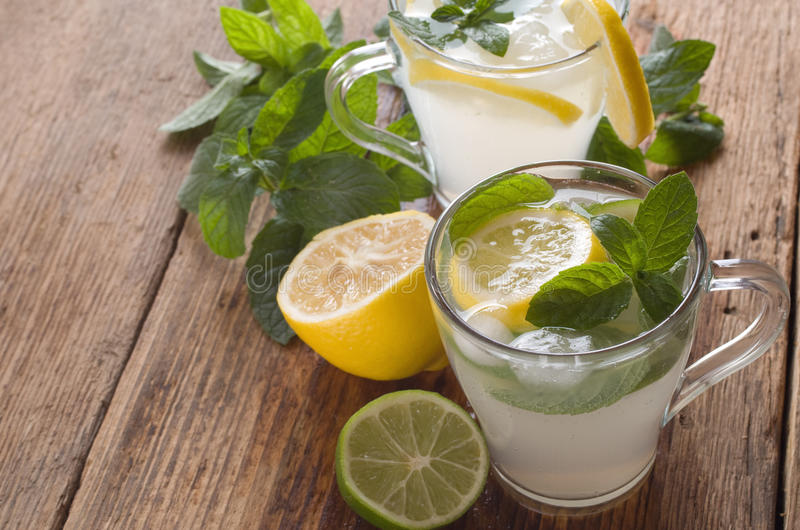 Cold fresh lemonade stock photos
