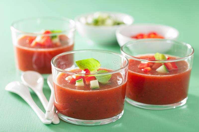 Cold gazpacho soup in glass royalty free stock photos