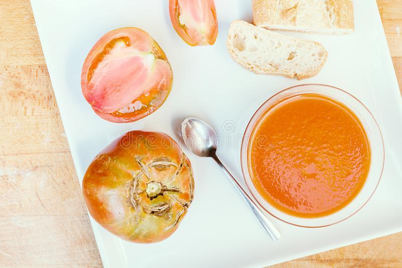 Cold gazpacho soup royalty free stock photography