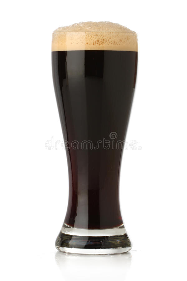 Cold glass of beer over white royalty free stock images