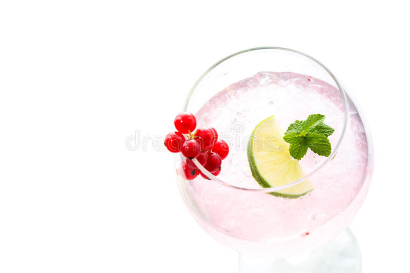 Cold gooseberry cocktail drink with mint and lime isolated royalty free stock photos