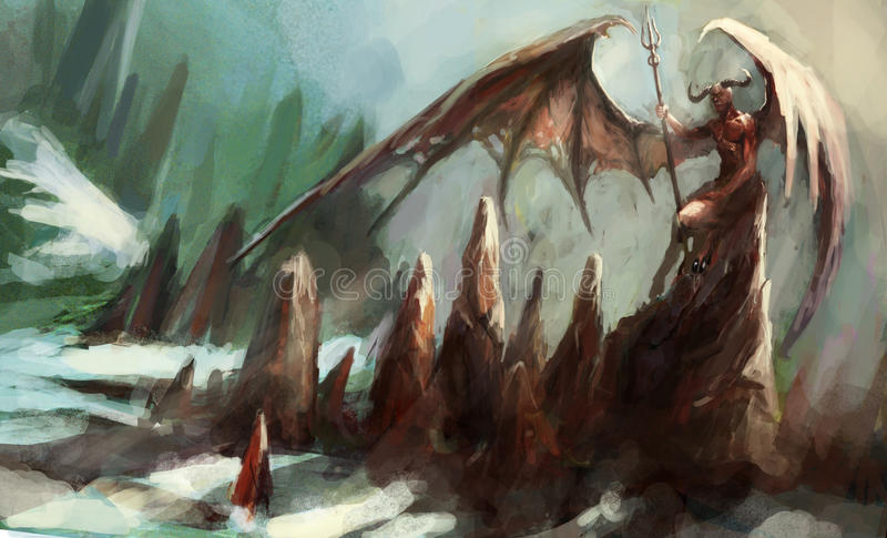 Cold hell. With lucifer siting on the rock stock illustration