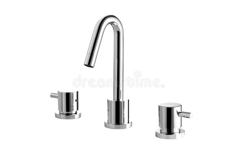 Cold and hot chrome faucet. Modern designed of cold and hot chrome faucet royalty free stock image