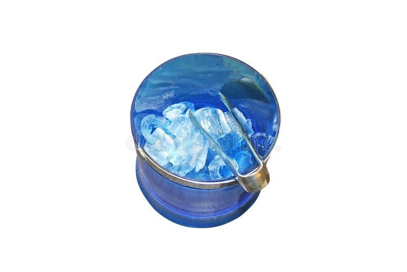 Cold ice bucket isolated on white background stock image