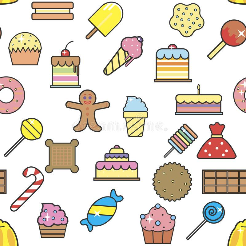 Cold ice cream dessert in crunchy waffle pattern vector. Cold ice cream dessert in crunchy waffle seamless pattern vector. Sorbet and cakes with cherry berry on vector illustration