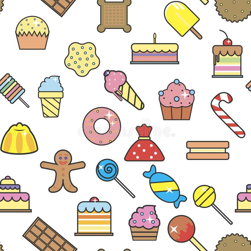 Cold ice cream dessert in crunchy waffle seamless pattern vector. Sorbet and cakes with cherry berry on top, topping of bakery, lollipops and cookies royalty free illustration