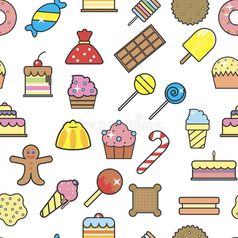 Cold ice cream dessert in crunchy waffle seamless pattern vector. Sorbet and cakes with cherry berry on top, topping of bakery, lollipops and cookies stock illustration