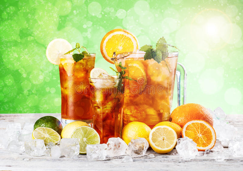 Cold ice tea. Fresh and cold ice tea with lemon and mint stock photos