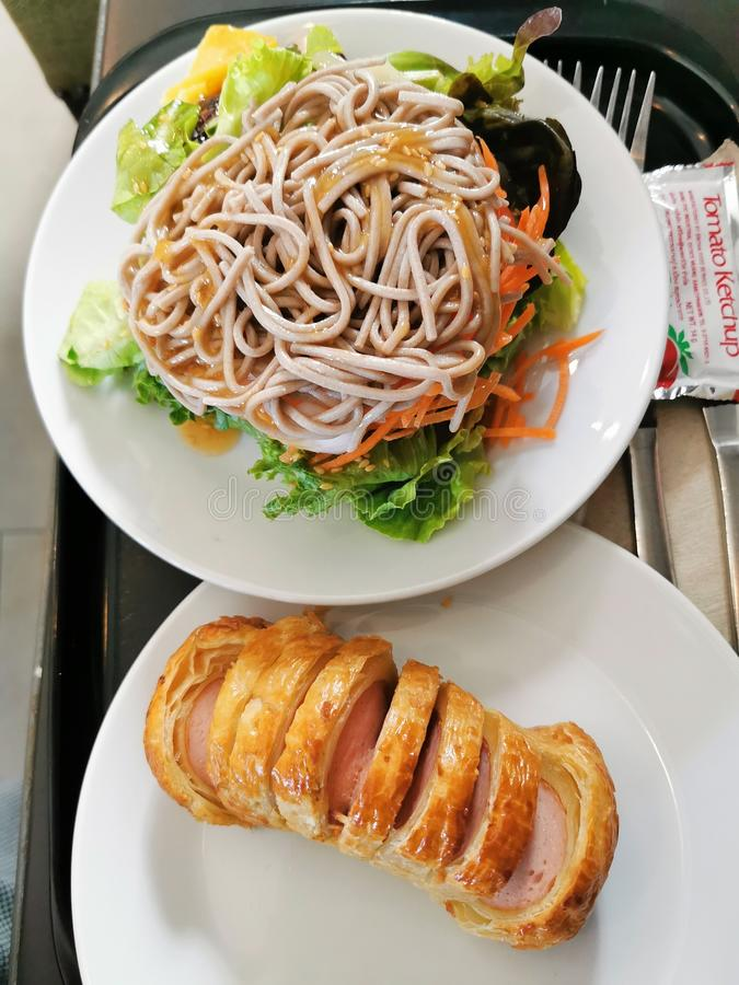 The cold Japanese noodle in the play stock photo