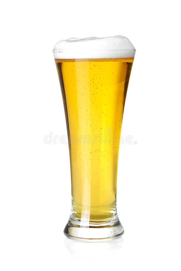 Cold lager beer in glass. Beer collection - Cold lager beer in glass. Isolated on white background royalty free stock images