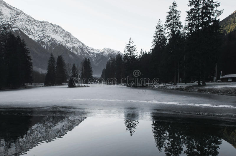 Cold lake. Beautiful image of a frozen lake stock photo