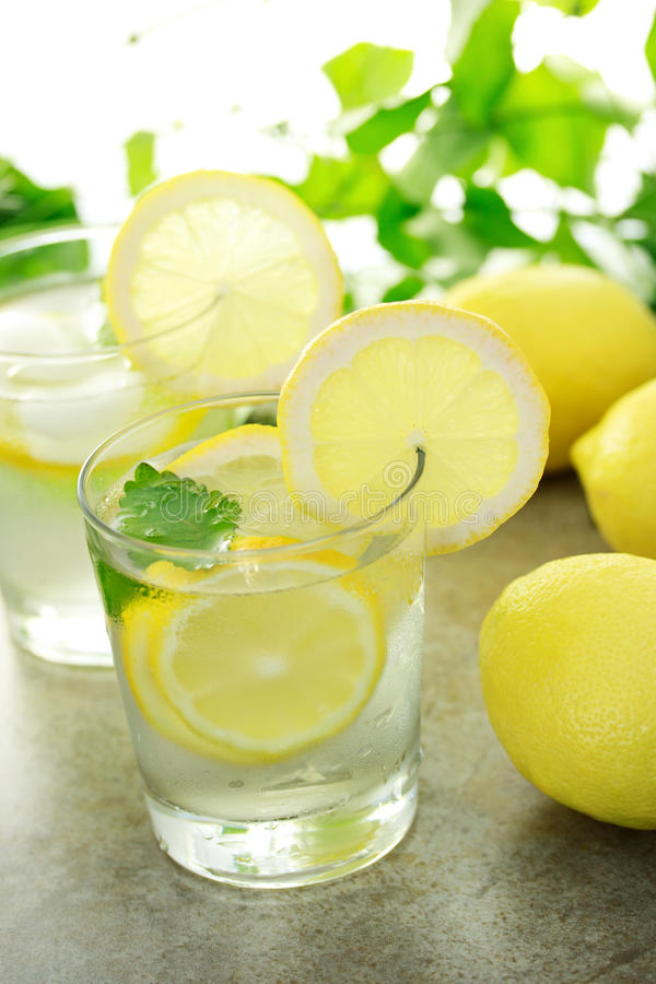 Cold lemon water. With fresh lemons with green plants stock image