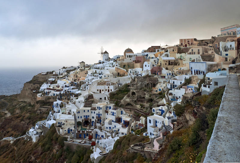 Download Cold morning in Ia village stock image. Image of cyclades - 24115217