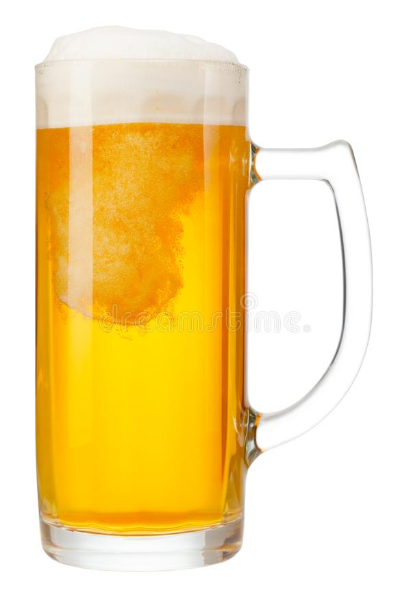 Cold mug of beer with foam. Isolated on white background stock photography