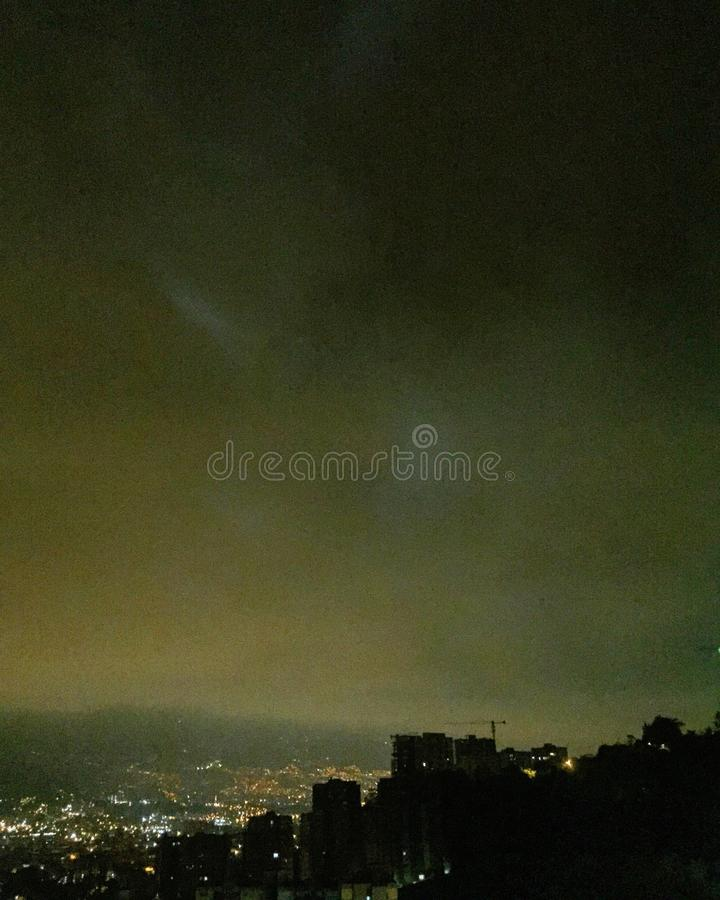 Cold nights. In Medellín, Colombia stock photos