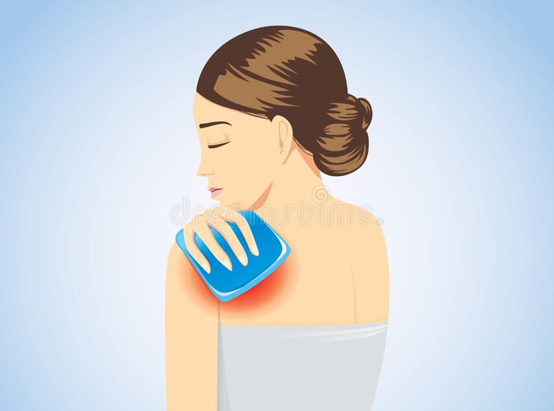 Cold pack on swelling shoulder of woman for pain relief. Cold pack on swelling shoulder of woman for relief of pain. Illustration about first aid equipment vector illustration