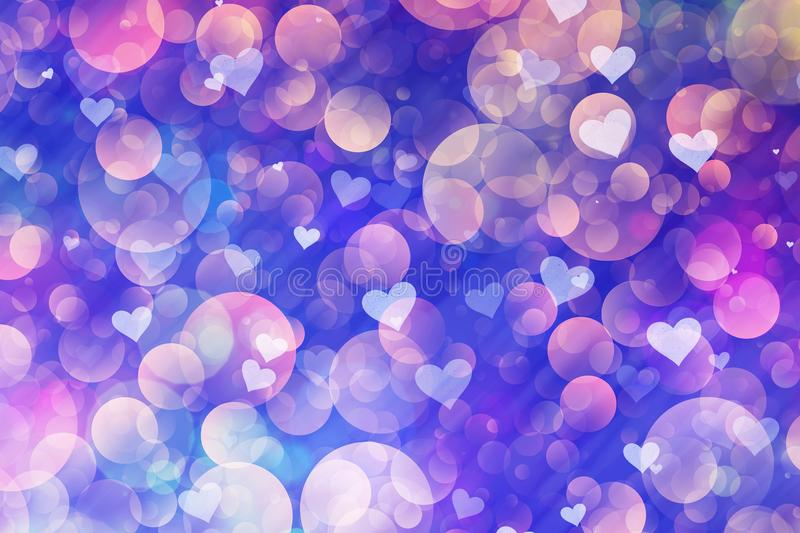 Cold painted flying bubbles and hearts in Chaotic Arrangement. Bokeh backgrounds royalty free illustration