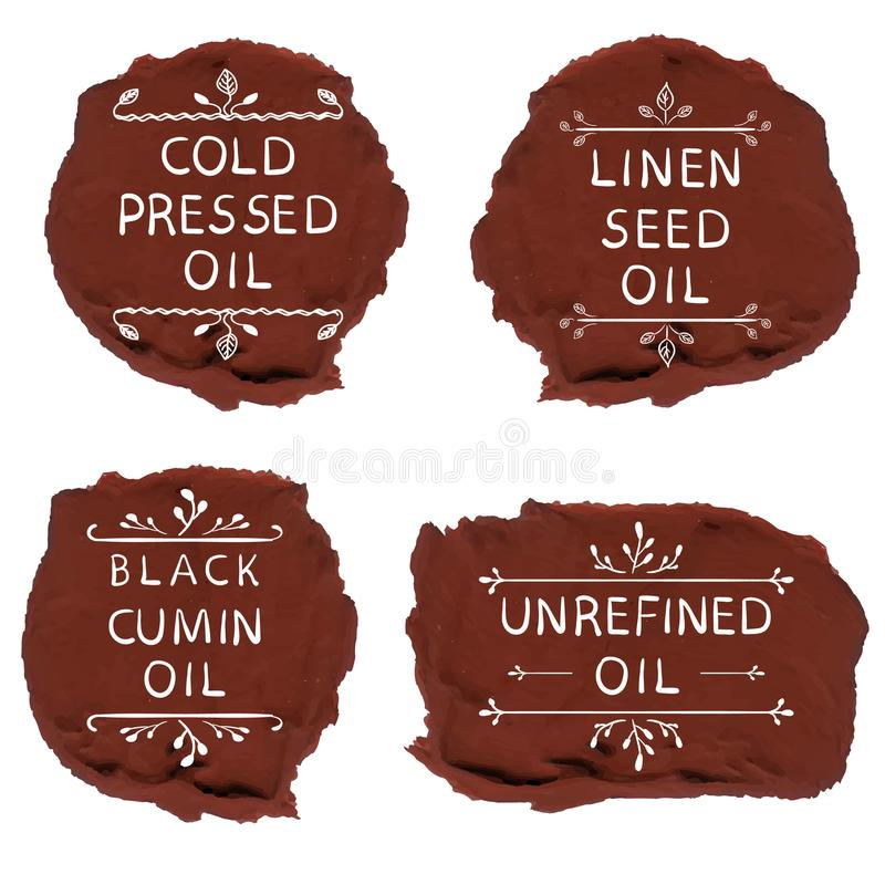 `Cold pressed oil` linen seed oil` `black cumin oil` `unrefined oil`. Hand drawn elements on black paint spots. VECTOR vector illustration