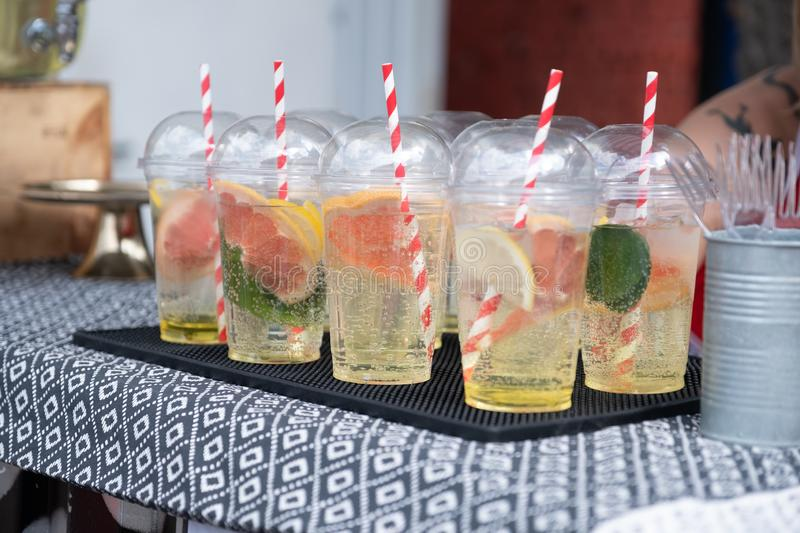 Cold and refreshing citrus cocktail with grapefruit stock image