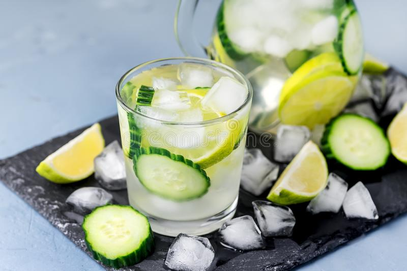 Cold and Refreshing Infused Detox Water with Lime and Cucumber in a Glass With Ice Cube Healthy Detox Drink Horizontal stock image