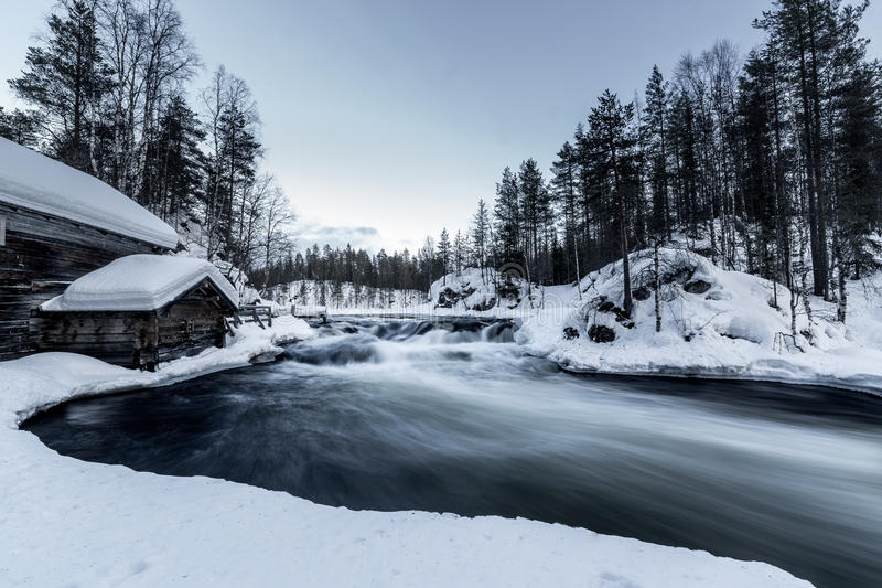 Cold river. Ice cold river flowing fast royalty free stock image