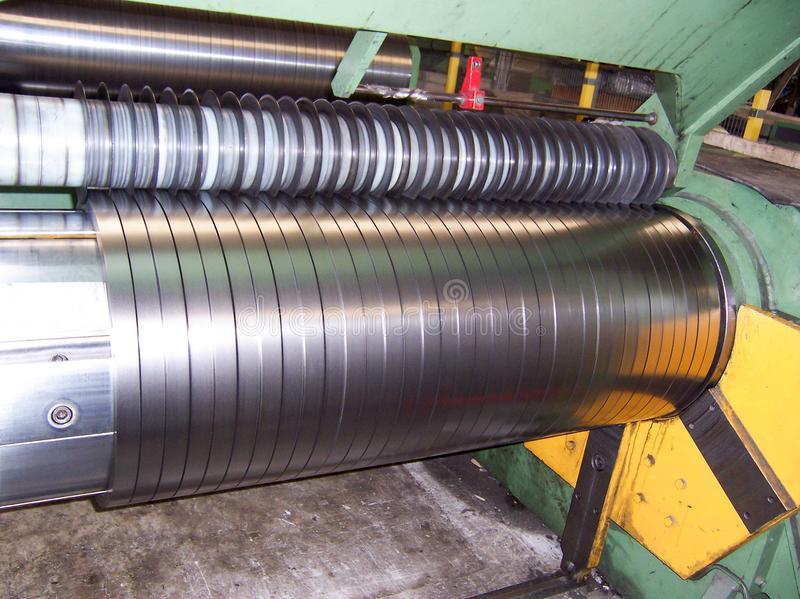 Cold rolled steel coil at storage area in steel industry plant.  stock photos