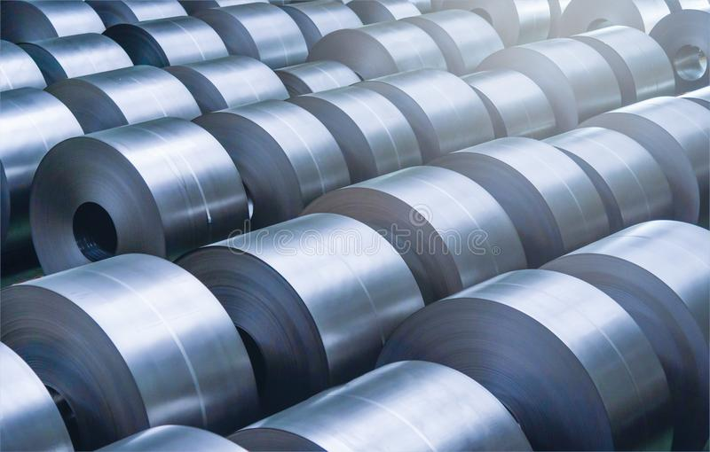 Cold rolled steel coil at storage area in steel industry. Plant stock images