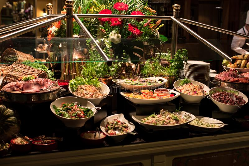 Cold Salad Platter in A Restaurant. An array of appetizer, cold cuts, and salad platter in a restaurant stock photos