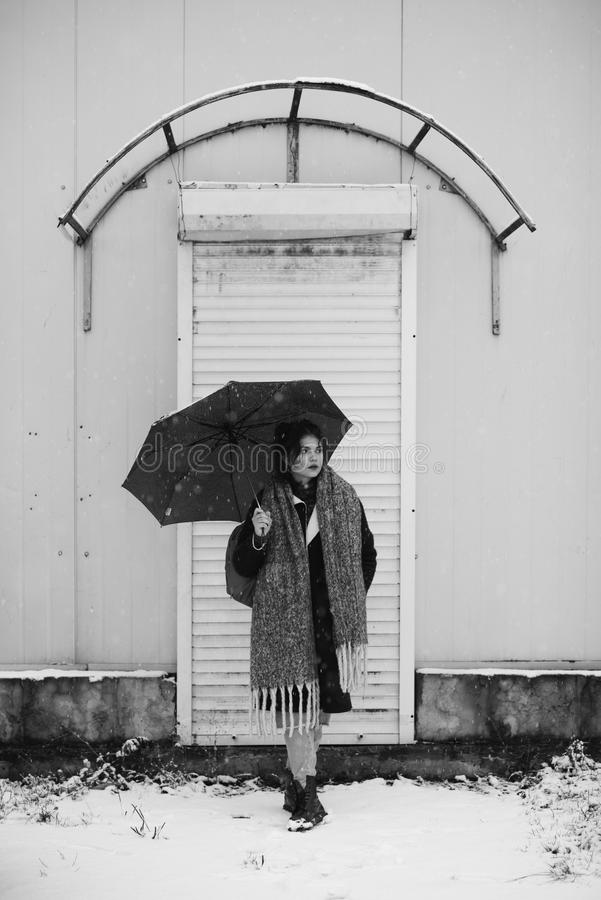 Winter portrait of a pretty girl without outerwear. Cold season. Winter portrait of a pretty girl without outerwear royalty free stock photos