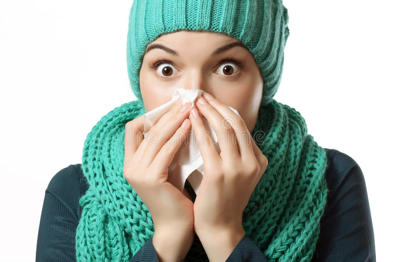 Cold, sick girl stock photography