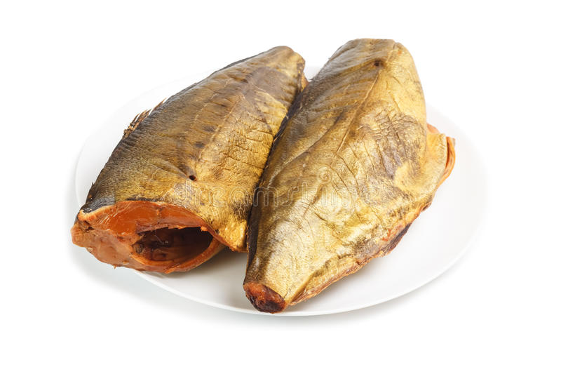 Cold smoked mackerel on plate royalty free stock photos