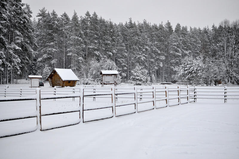 Cold snowy winter landscape of rural homes. royalty free stock photo