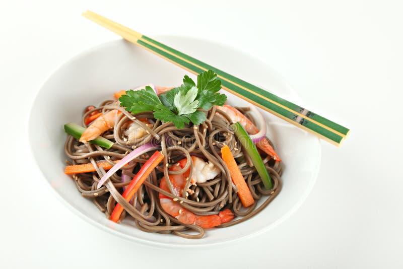 Cold Soba Buckwheat Noodle Salad. Popular Korean Dish stock image