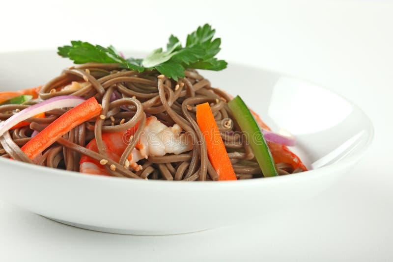 Cold Soba Buckwheat Noodle Salad. Popular Korean Dish stock images