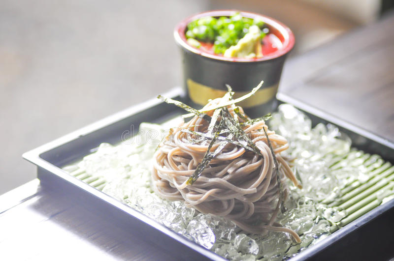 Cold soba or cold noodle in Japanese style. Cold soba or cold noodle in Japanese food stock images