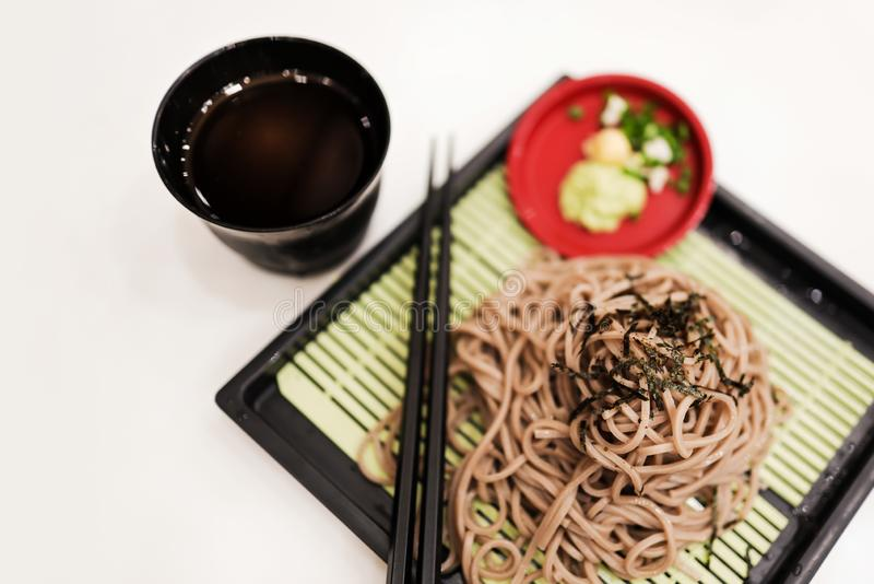Cold Soba Noodle in the Restaurant. Traditional Pasta Food of Japan, Made from Buckwheat. Selective Focus. Top View royalty free stock image