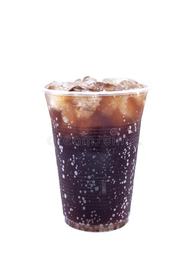 Cold soda, iced drink, plastic cup royalty free stock images