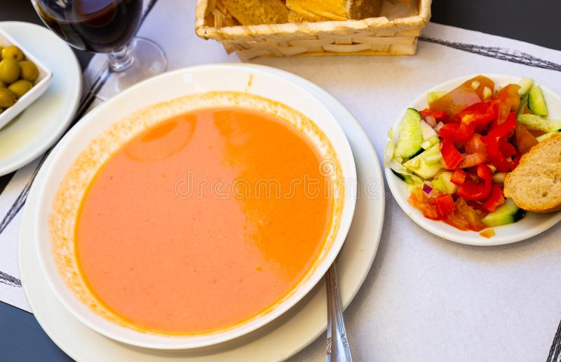 Cold soup Gazpacho royalty free stock photos