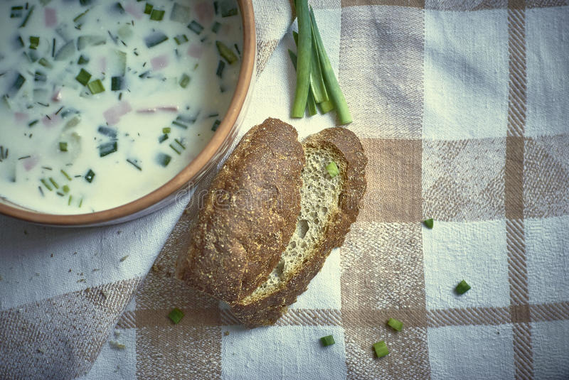 Cold soup with green onions and bread royalty free stock photography