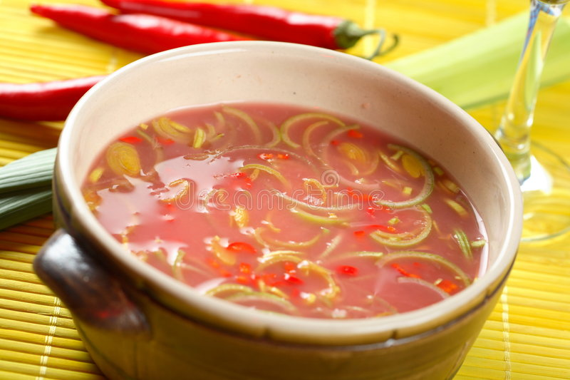 Cold soup made from pickled cabbage royalty free stock photography