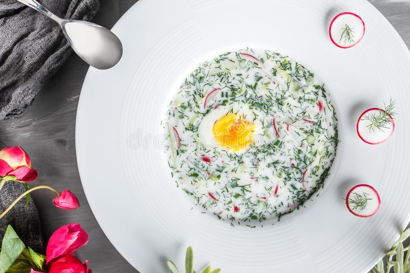 Cold soup or summer yoghurt with radish, cucumber, dill and herbs on grey background. royalty free stock photo