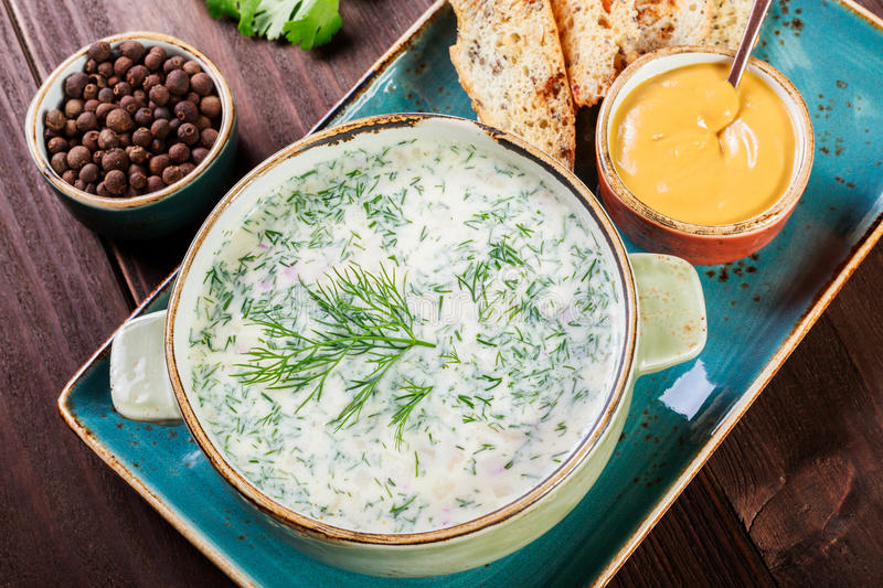 Cold soup or summer yoghurt with radish, cucumber, dill, herbs and crackers on dark wooden background. Okroshka. Homemade food stock photo