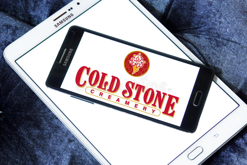 Cold stone Creamery restaurant logo. Logo of cold stone Creamery restaurant on samsung mobile on samsung tablet royalty free stock images