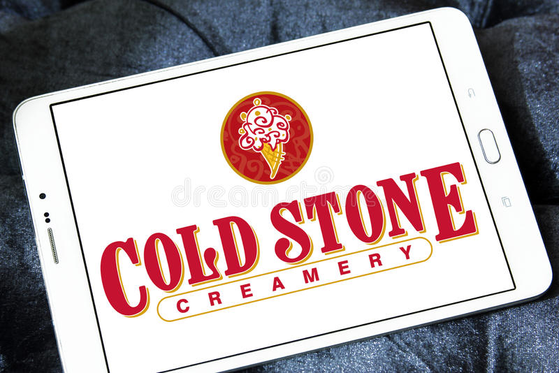 Cold stone Creamery restaurant logo. Logo of cold stone Creamery restaurant on samsung tablet stock photos
