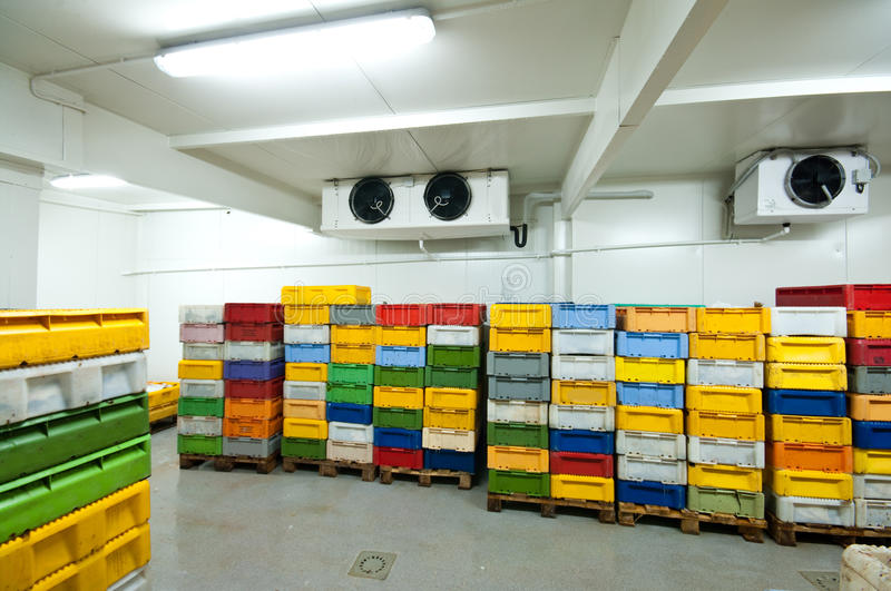 Cold storage. Room with colorful transportation boxes royalty free stock photography